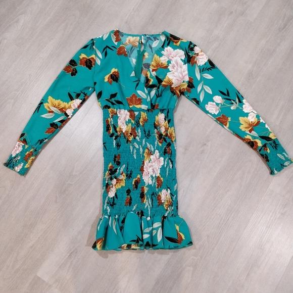 Floral bodice skirt long sleeve dress